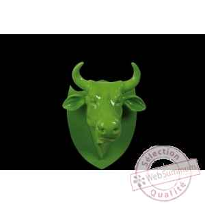 Figurine Trophee vache cowhead green  25cm Art in the City 80994