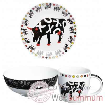 Coffret dejeuner 3 pieces en porcelaine Vache Black Cow -blckDEJ2L