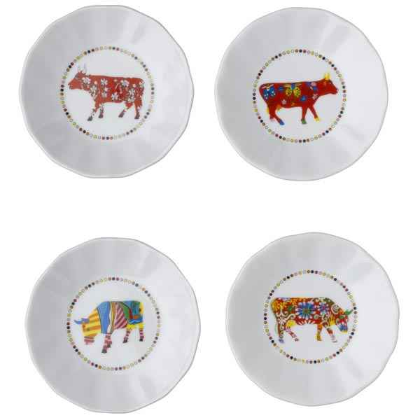 Video Cow Parade-set de 4 assiettes a aperitif -SNA L