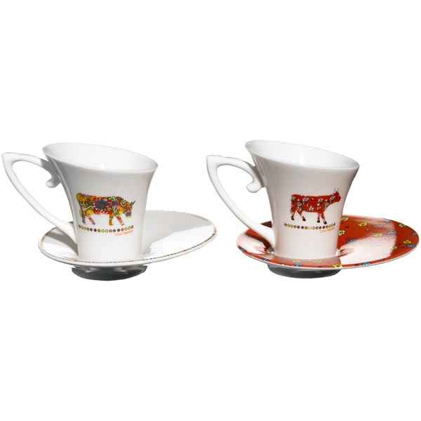 cow parade coffret de 2 tasses caf tasl de dfte cow. Black Bedroom Furniture Sets. Home Design Ideas