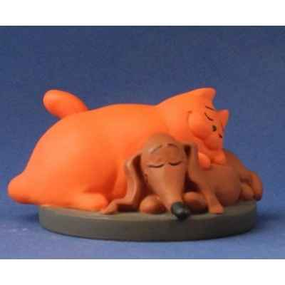 Figurine chien et chat de jan, jans en de kinderen -JJ11