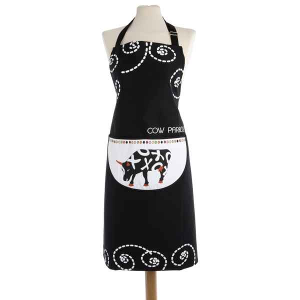 Video Torchon rond nid d'abeille en coton Vache Black Cow -blckTRNL