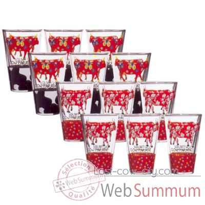 Lot de 12 verres Cow Parade - BLCK-VERL